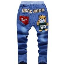 Жан подростков упругие штаны дизайнер талии джинсы мальчик весна брюки детские