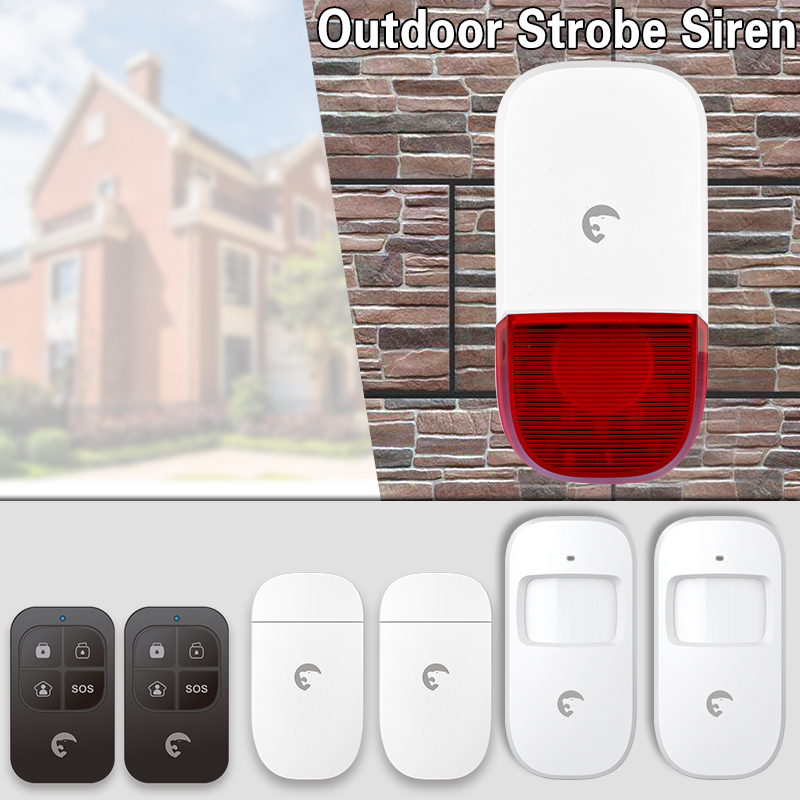 Wireless 433mhz Outdoor Siren Home Security Detector  Alarm  with flashing response