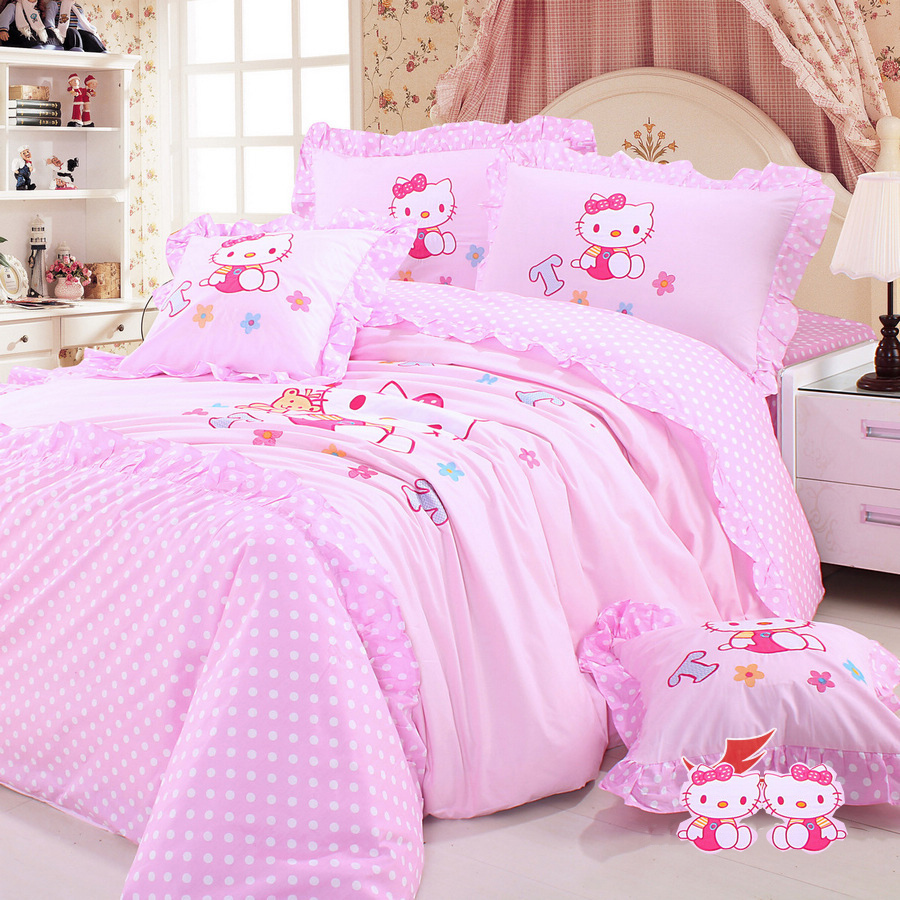 Pink hello kitty bedsheet - Hello Kitty Bedding Set Hello Kitty Bed In A Bag Pink Princess Bedding Sets Kids Bedding Polka Dot Bedding Set Queen Twin Size In Bedding Sets From Home