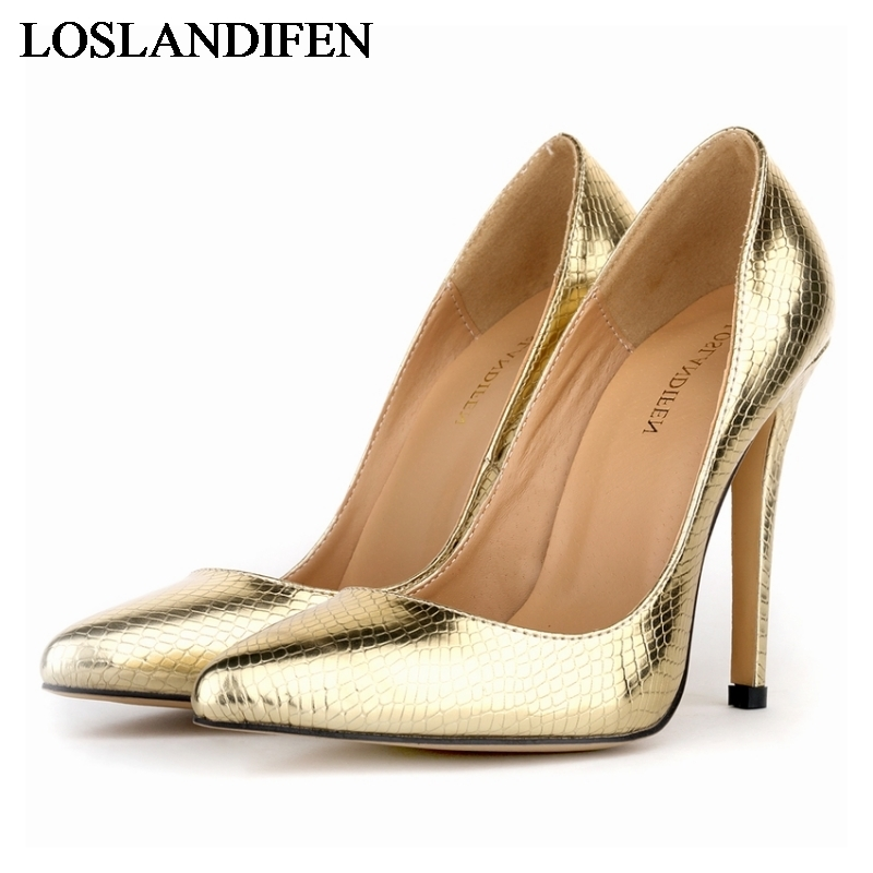 все цены на New 2018 Hot Brand Women Bridal Shoes Red Gold Sliver High Heels Sexy Woman Pumps Ladies Pointed Toe Shoes NLK-B0016