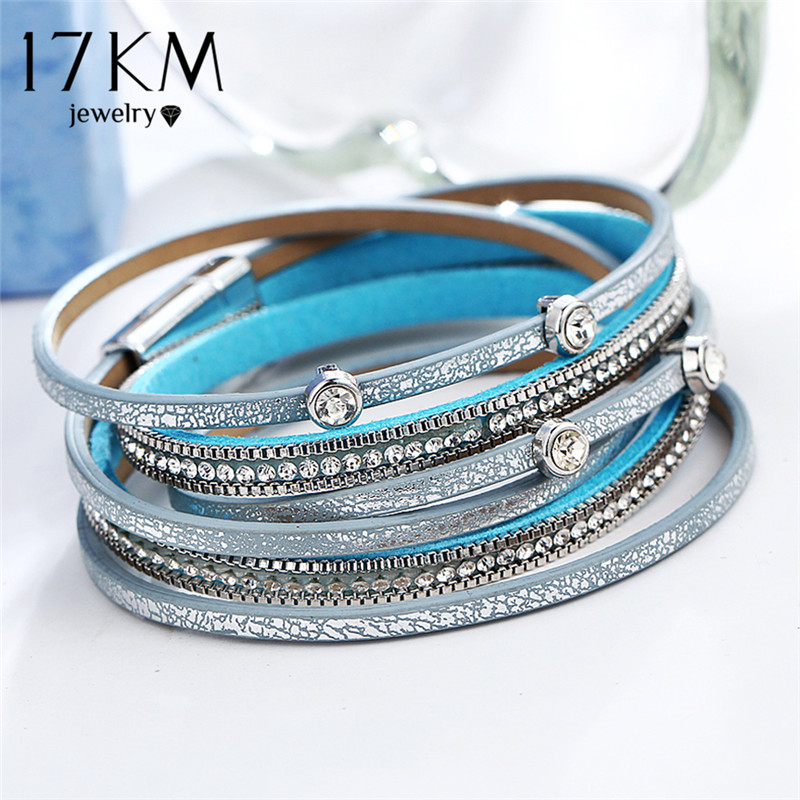 17KM New Design Crystal Beads Charms Bracelets For Women Men Fashion Multiple Layers Leather Bracelet Statement Party Jewelry