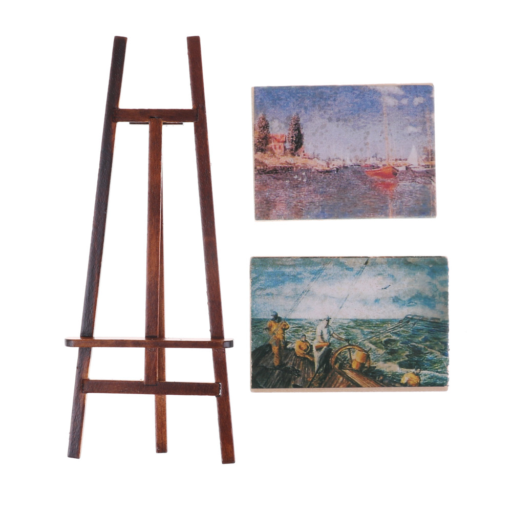 1 Set Artist Easel Stand & 2 Wood Paintings Pictures Mini Artist Easel Wood Wedding Table Card Stand Display Holder Decoration