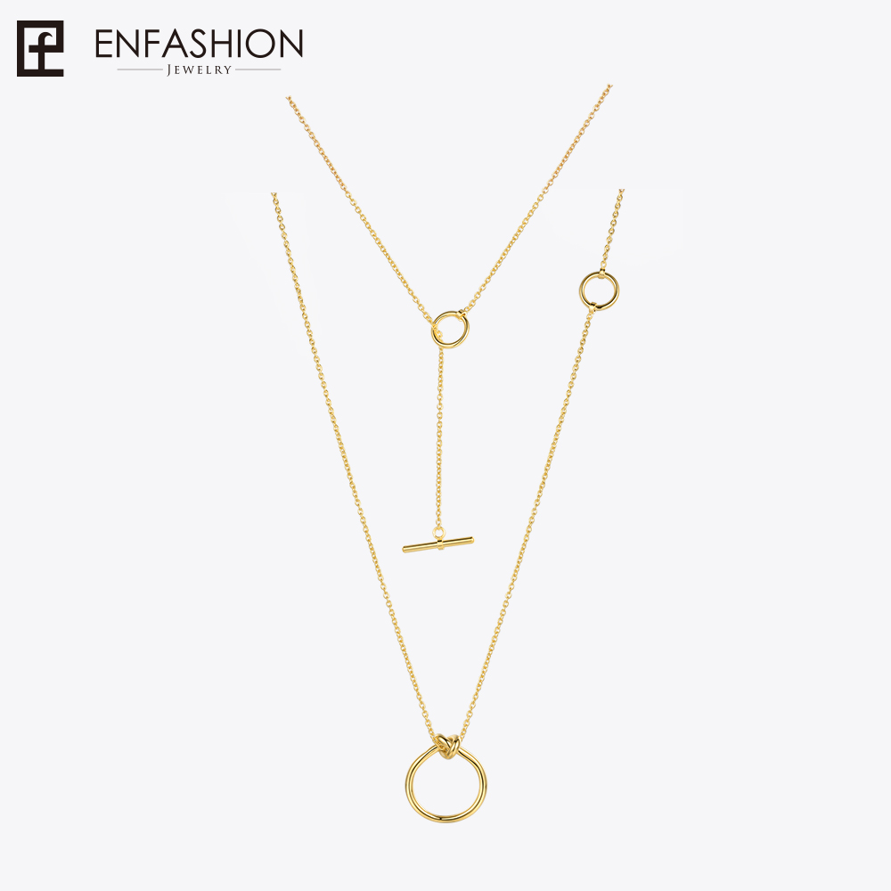Enfashion Classic Knot Pendants Necklaces Stainless Steel Gold color Choker Necklace For Women Long Chain Jewelry Collier mocai silver color star necklaces big david stars punk chain pendant necklace europe choker jewelry for women collier zk30