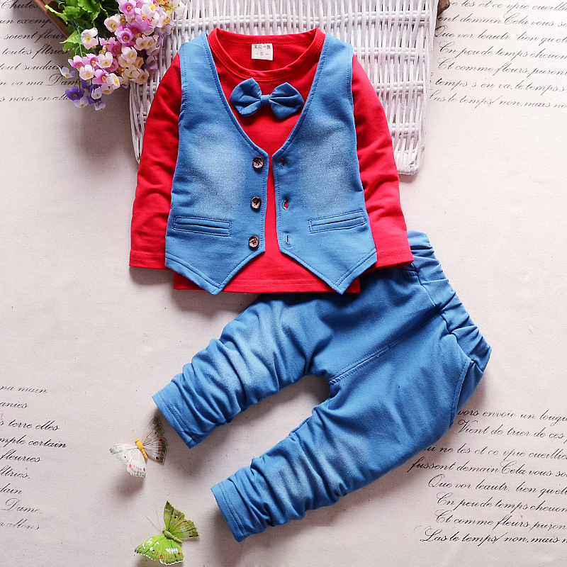 Gentleman style Children Clothes Sets 2017 Spring Baby Boys Casual Suits Infant Cowboy Vest+Cotton T Shirt+Pants Kids Suits