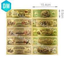 Американская Коллекционная Золотая банкнота 1875 года, 1, 5, 50, 100, 1000 долларов, 24 К, позолоченный набор поддельных денег, качественные бумажные д...