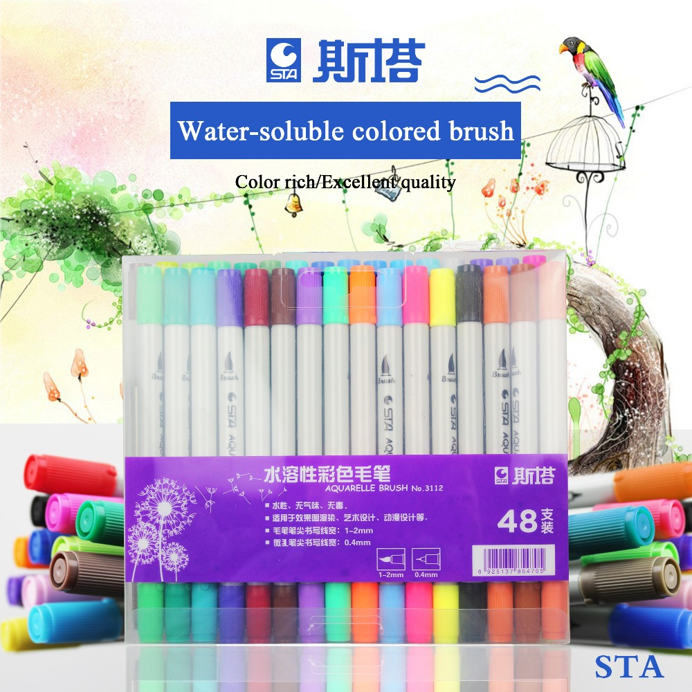 STA 3112 48 Colors Watercolors Brush Pen Double-headed Colored Art Markers Sketch Drawing For Stationery School Supplies sta markers pen new promotions capillary handles for drawing 80 colors artist design markers for drawing double headed mark pens