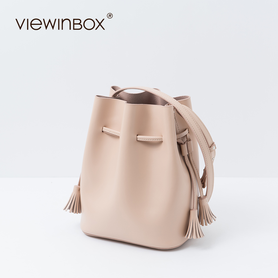 Viewinbox Bucket Bag Candy Color Fashion Women s Tassel Bucket Bag Casual Fringe Shoulder Crossbody Messenger