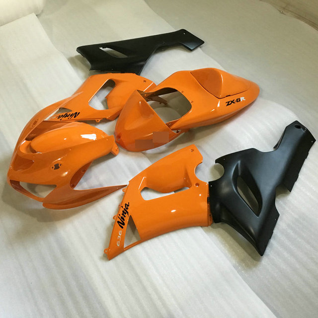 Custom Orange Black Fairing Kit For KAWASAKI Ninja ZX6R 05 06 636 2005 2006 Motorcycle