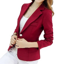 Autumn Winter Blazer Femme Office Lady Fashion Single Button Formal Long Sleeve Notched Blazer Feminino Abrigo Mujer Coat