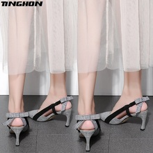 TINGHON Sexy Women Plaid High Heel Pumps Elegant Butterfly-knot Pointed Toe 7CM Thin Heel Slip-On Office Ladies Shoes