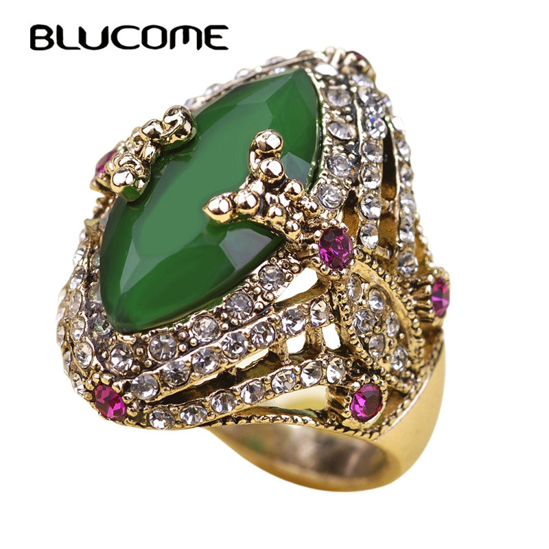 Blucome Vintage Turkish Jewelry Big Size Green Ring Resin Wedding Rings Turco Rhinestone Women Accessories 2018 Brand Bijuterias vintage rhinestone hollowed wave ring for women