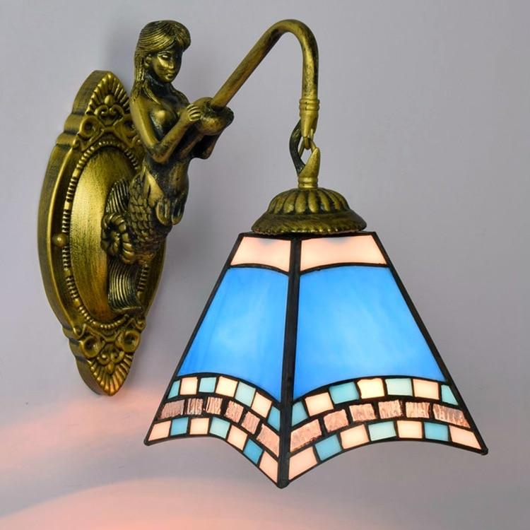fashion tiffany Mediterranean  Mermaid mirror light fashion rustic wall lamp   bed lamps fashion tiffany mediterranean mermaid mirror light fashion rustic wall lamp bed lamps