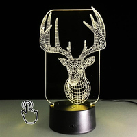 3D LED Hologram Illusion Night Light 3D Lamp Aninal Elk Table Lamp Night Light USB 7 Color 3D Optical Illusion Lights