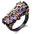 Diseño de marca rectángulo del anillo de dedo Setting amatista y Red Cubic Zirconia anillos negro plateado arma de la joyería para mujeres