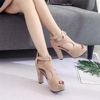 Ladies Platform Pumps Peep Toe Ankle Strap High Heel Sandals Single Shoes women 2019 fashion women summer sandals Shoes #SA