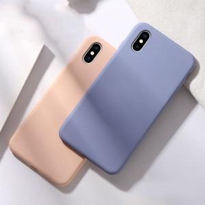 Image 4 - لينة السائل سيليكون جراب هاتف ل iphone X XS ماكس XR 7 8 6 6 S زائد لينة هلام المطاط للصدمات غطاء كامل واقية عودة حالة