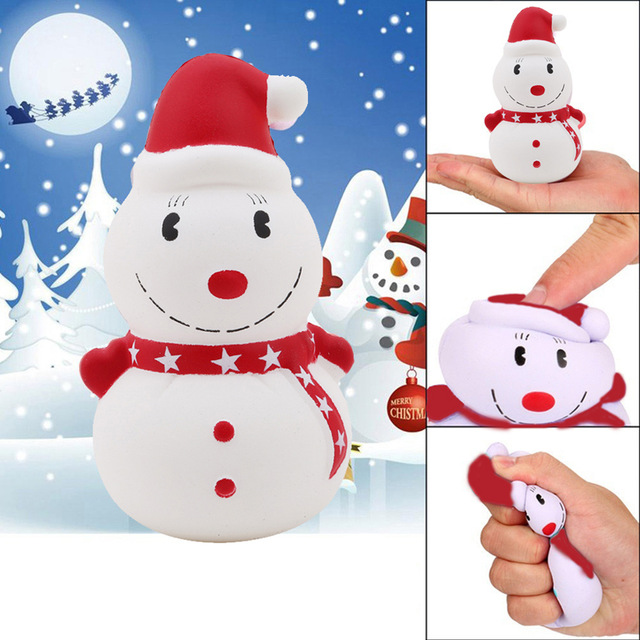 Cute Jumbo Christmas Snowman Kawaii Squishies Slow Rising Antistress Squeeze Toys Easter Charms Ice Cream Cake Kids Gift