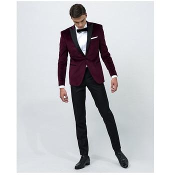 Custom Made Burgundy Velvet Groom Tuxedos Peak lapel groommens suits Made to measure wedding suits for mens(Jacket+Pants)