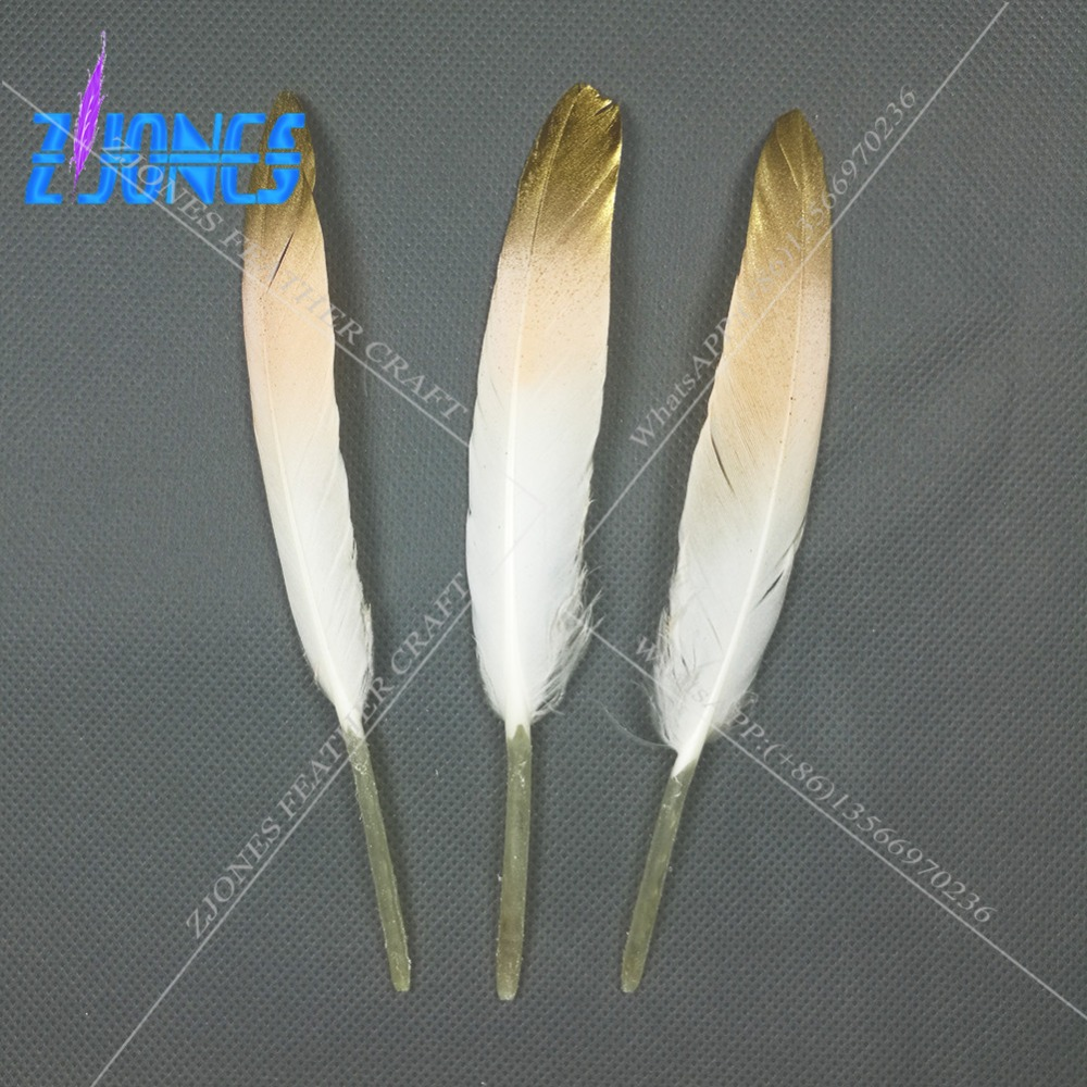 Wholsale 100pcs Newest Gold Tips Dyed Color Goose/Duck Feathers 10-15cm/4-6inches Decoration Plume For Craft/Jewelry/Headdress