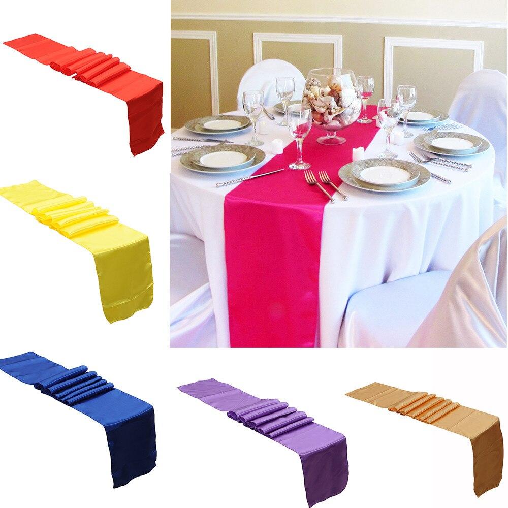 30x275 Cm Elegante Satijn Pure Kleur Tafelloper Bruiloft Receptie Birthday Party Anniversary Banket Party Decoratie