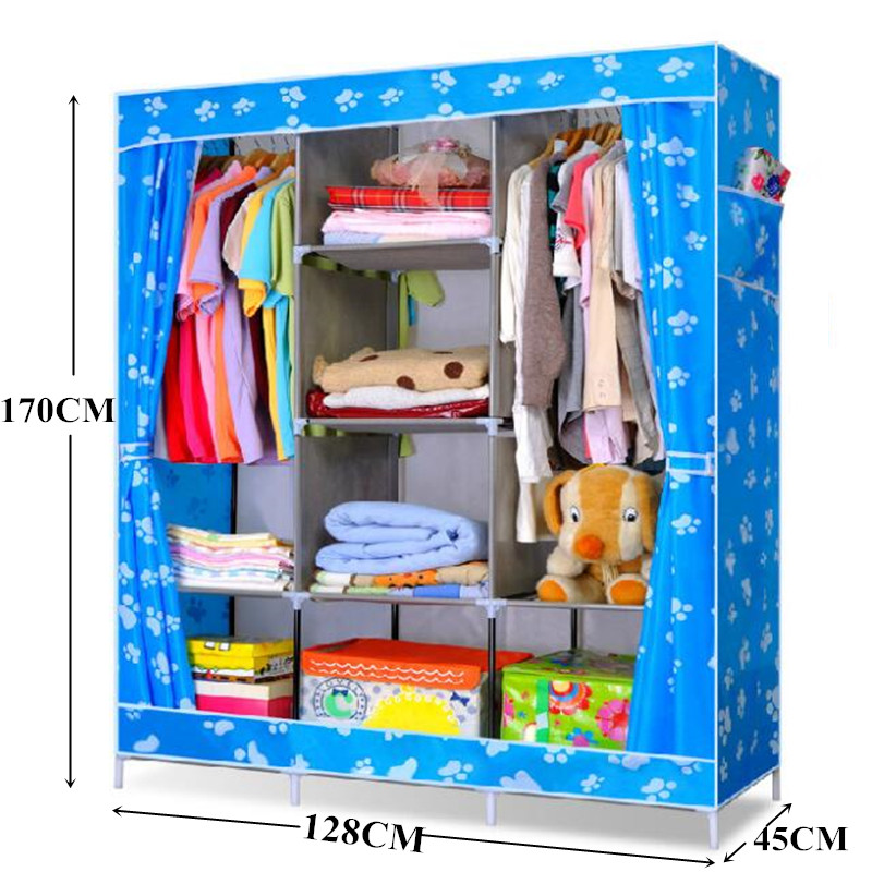Hot Sale! Large-sized Wardrobe, Wardrobe Cabinets Simple Folding Reinforcement  Closet Receive Stowed Clothes Store Content Ark simple fashion moistureproof sealing thick oxford fabric cloth wardrobe rustproof steel pipe closet 133d
