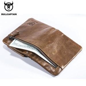 Image 5 - BULLCAPTAIN สั้น Tri พับซิปกระเป๋าสตางค์หนังวัวผู้ชายกระเป๋าสตางค์หนังเหรียญเหรียญเงินกระเป๋าธุรกิจ RFID ผู้ถือ