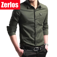 Plus Size M 4XL Spring Summer Men S Oxford Cotton Long Sleeved Shirt Slim Fit Military