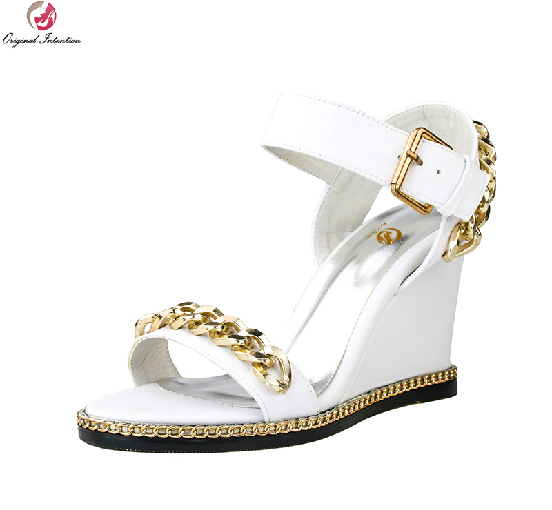 Original Intention High-quality Women Sandals Cow Leather Fashion Open Toe Wedges Black White Shoes Woman Plus Size 3-10.5 mcckle fashion superior quality comfortable bohemian wedges women sandals for lady shoes high platform open toe flip flops plus