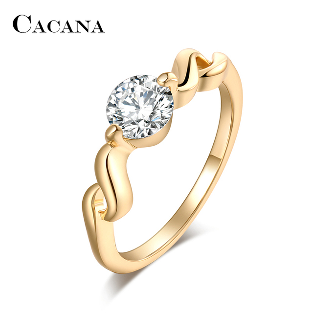 CACANA Cubic Zirconia Rings For Women Curve S Type Trendy Fashion Zinc Alloy Rings Jewelry Bijouterie Wholesale NO.R509