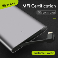 Bensks Original MFi Certification Ultra Thin Power Bank 4000mAh External Backup Battery Portable Charge For IPhone