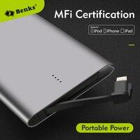 Bensks Orijinal MFi Belgelendirme Ultra-ince Güç Banka iPhone iPad için 4000 mAh Harici Yedekleme Pil Taşınabilir Şarj