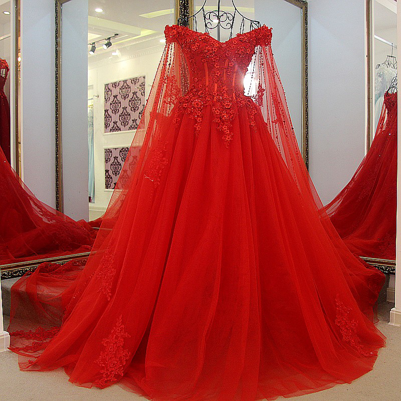 Ls54710 Red Wedding Dress Robe Mariage Femme 2016 Tulle Ball Gown Beading Lace Up Back Princess