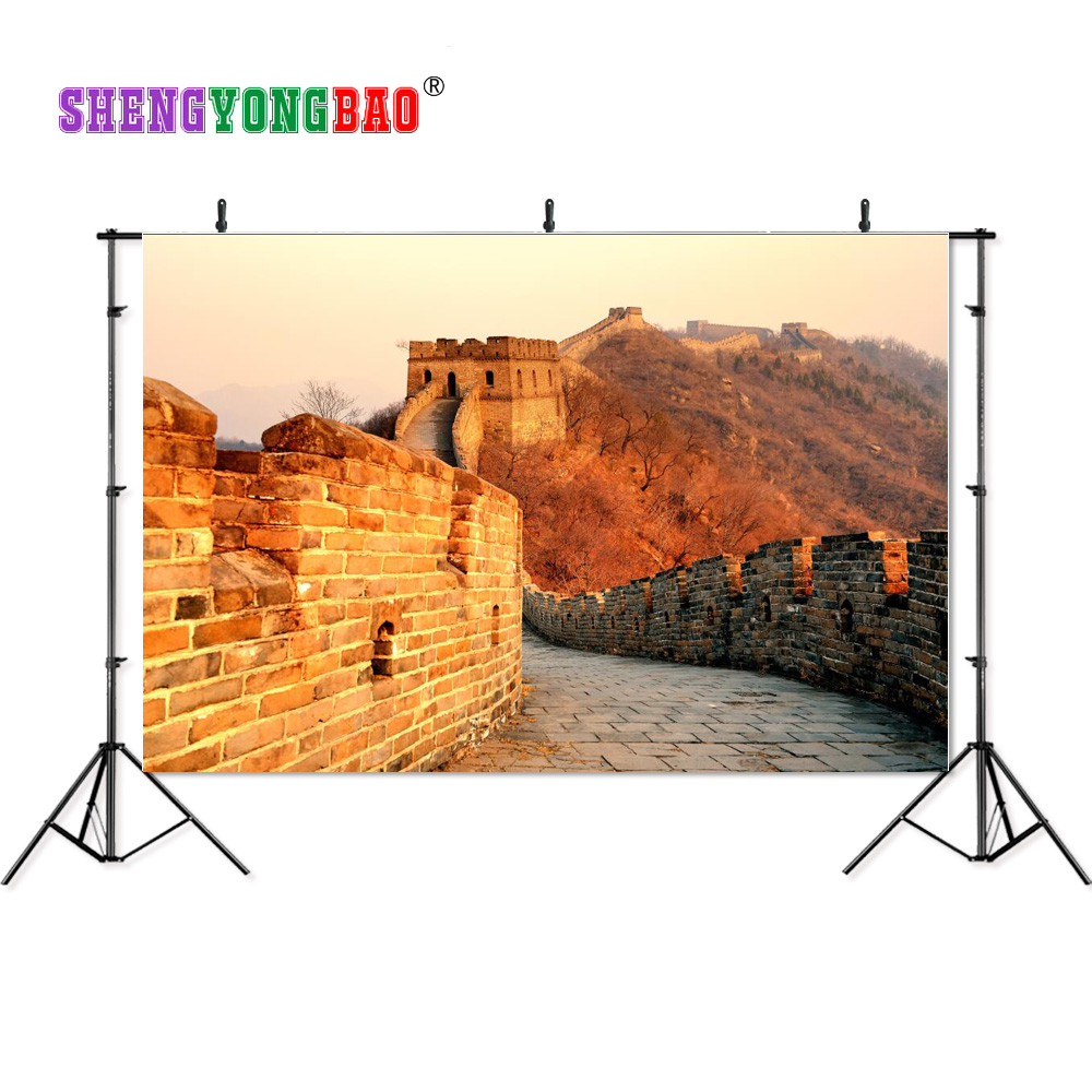 SHENGYONGBAO Art Cloth Photography Backdrops Props Autumn Great wall theme Photo Studio Background SML 0023 in Background from Consumer Electronics