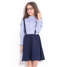 Spring Autumn Girls Dresses Long Sleeve Kids Stripes Dress College Wind Child Princess Vestidos Large Children 6-14 Years Teens недорого