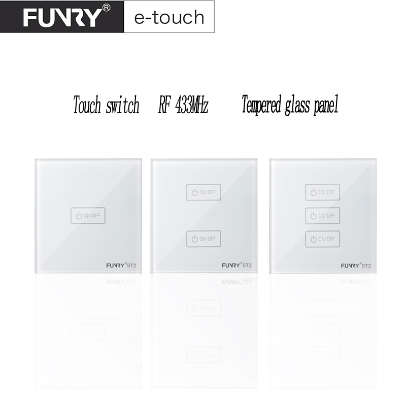 Funryn EU ST2 1/ 2/ 3 Gang RF433 Light Switch,Smart Home Automation Remote Control Touch Panel Switch Via Broadlink RM Pro Rm2