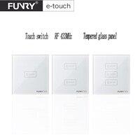 2017 Funryn New EU Standard 1 2 3 Gang Wireless RF433 Touch Remote Control Wall Light
