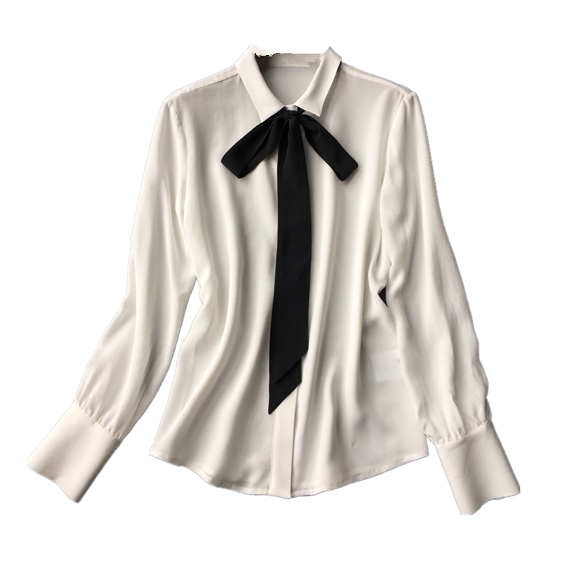 Classic soft heavy sand washed silk crepe long sleeve shirt with black ribbon tie Blouses