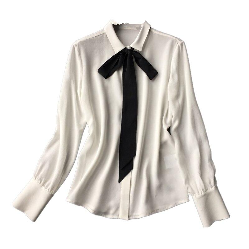 Camisa de manga larga de crepé de seda lavada suave clásica con blusas de lazo negro