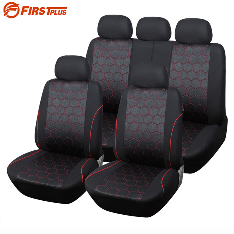 Car Styling Elastic Full Seat Covers Universal Fit Airbag Compatible Front Back Seat Protector Cushion Cover Auto Chair pillowcase classic style wave pattern car comfy back cushion cover