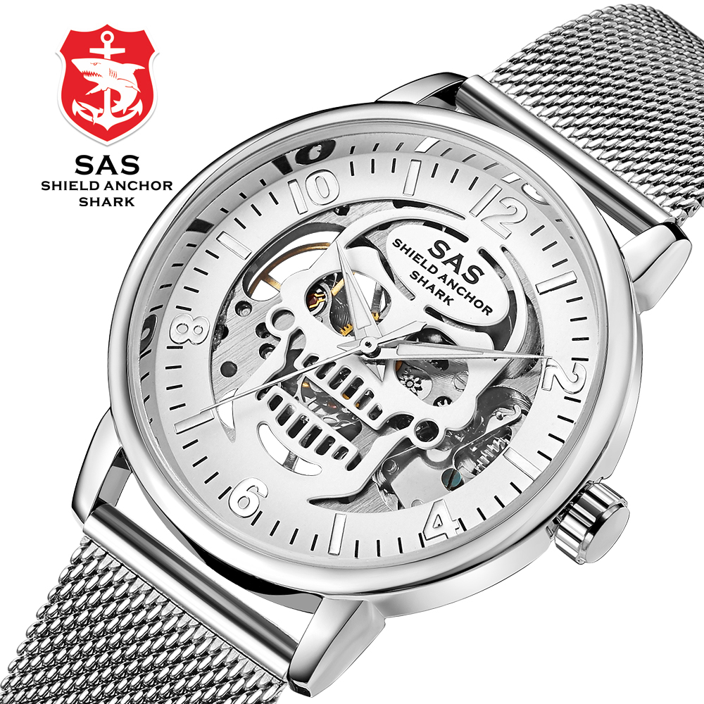 Sas Shield Anchor Shark Sport Mens Watches Top Brand Luxury Skeleton Skull Design Gold Mechanical Watches Mesh Band Bracelets baogela hollow skeleton automatic mechanical watches mens top brand luxury leather band gold business wristwatch