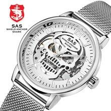 778aae5c94e Sas Âncora Escudo Tubarão Esporte Mens Relógios Top Marca de Luxo Relógios  Mecânicos de Esqueleto Do Projeto Do Crânio de Ouro M..