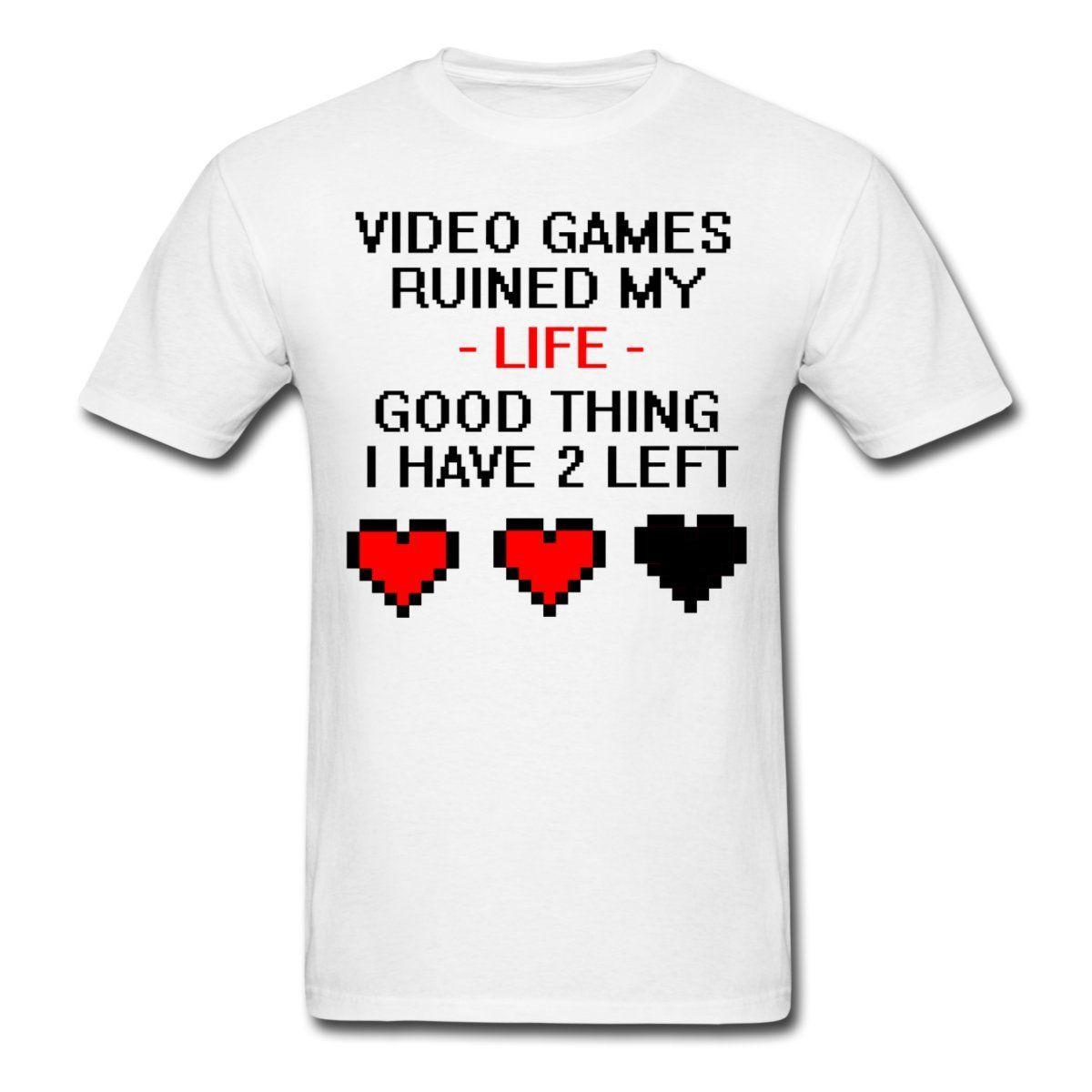 Video Games Ruined My Life Funny Quote Mens T-Shirt Casual Short Sleeve Tshirt Novelty Fashion Logo Printing T Shirts
