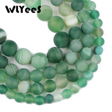 WLYee Matte Stripe Banded Natural Green carnelian Stone  Round Loose beads 6 8 10 mm for jewelry Bracelet Making Accessories DIY