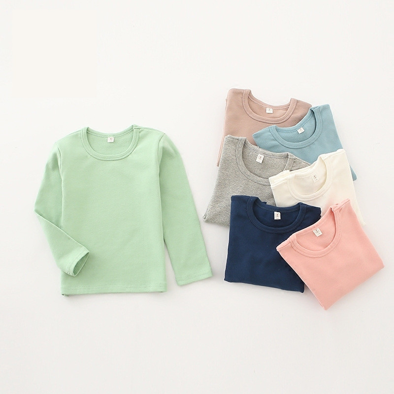 Child-To-Wear Tshirts. Girls Boys Autumn/spring Long-Sleeved And More Wool Top-Grinding