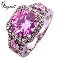 lingmei Wholesale Engagement Wedding Bridal Hot Sales Women Round Cut Pink & White CZ Diamond  Silver Ring Size 7 8 9 10