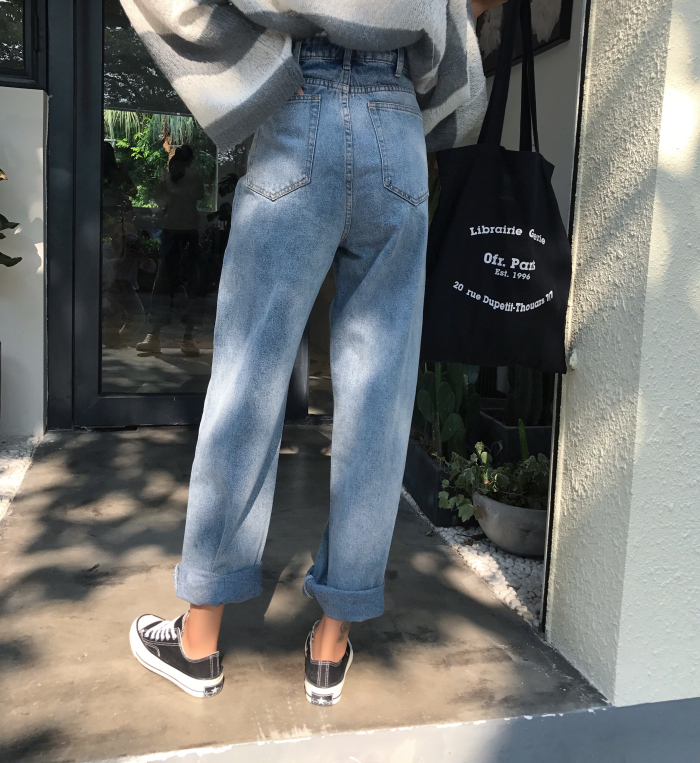 GUUZYUVIZ Loose Vintage Woman Jeans 17 Autumn Bleached Casual Boyfriend Curl Denim Wide Leg Pants Oversize High Waist Jean 12