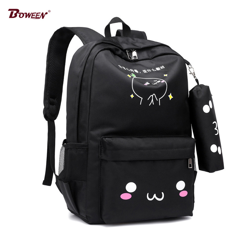 Teen Backpack School Bags for Teenage Girls USB Large Capacity Women Schoolbag Quality Nylon cute cat Back Pack Female BookBag 16 inch anime teenage mutant ninja turtles nylon backpack cartoon school bag student bags double shoulder boy girls schoolbag