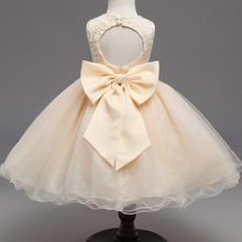 AmzBarley Girls princess Dress Backless Bowknot Tutu Toddler girls Lace Floral l Birthday Party Ball Gown children clothes
