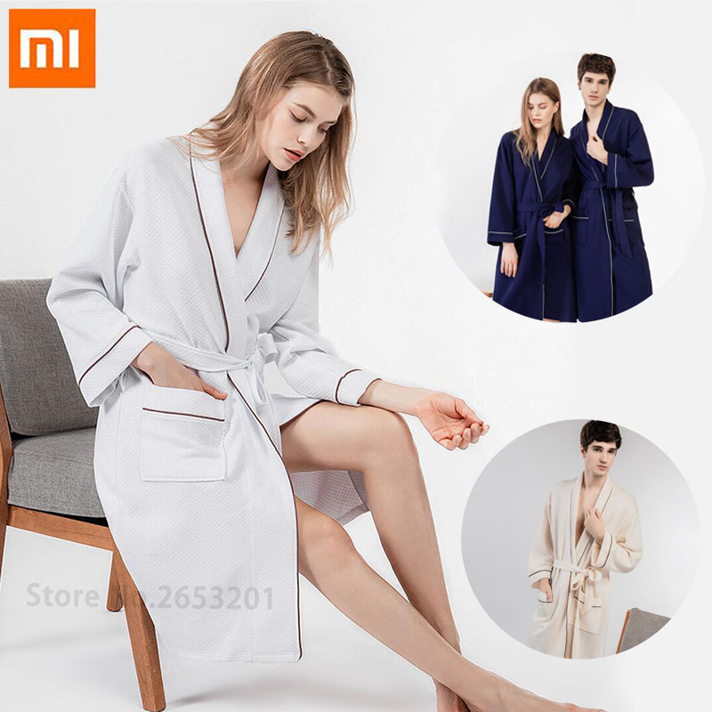 100 Original Xiaomi Mijia Couple Cotton Home Robe Clothes Soft and comfortable Sleepwear Hotel bathrobe Solid