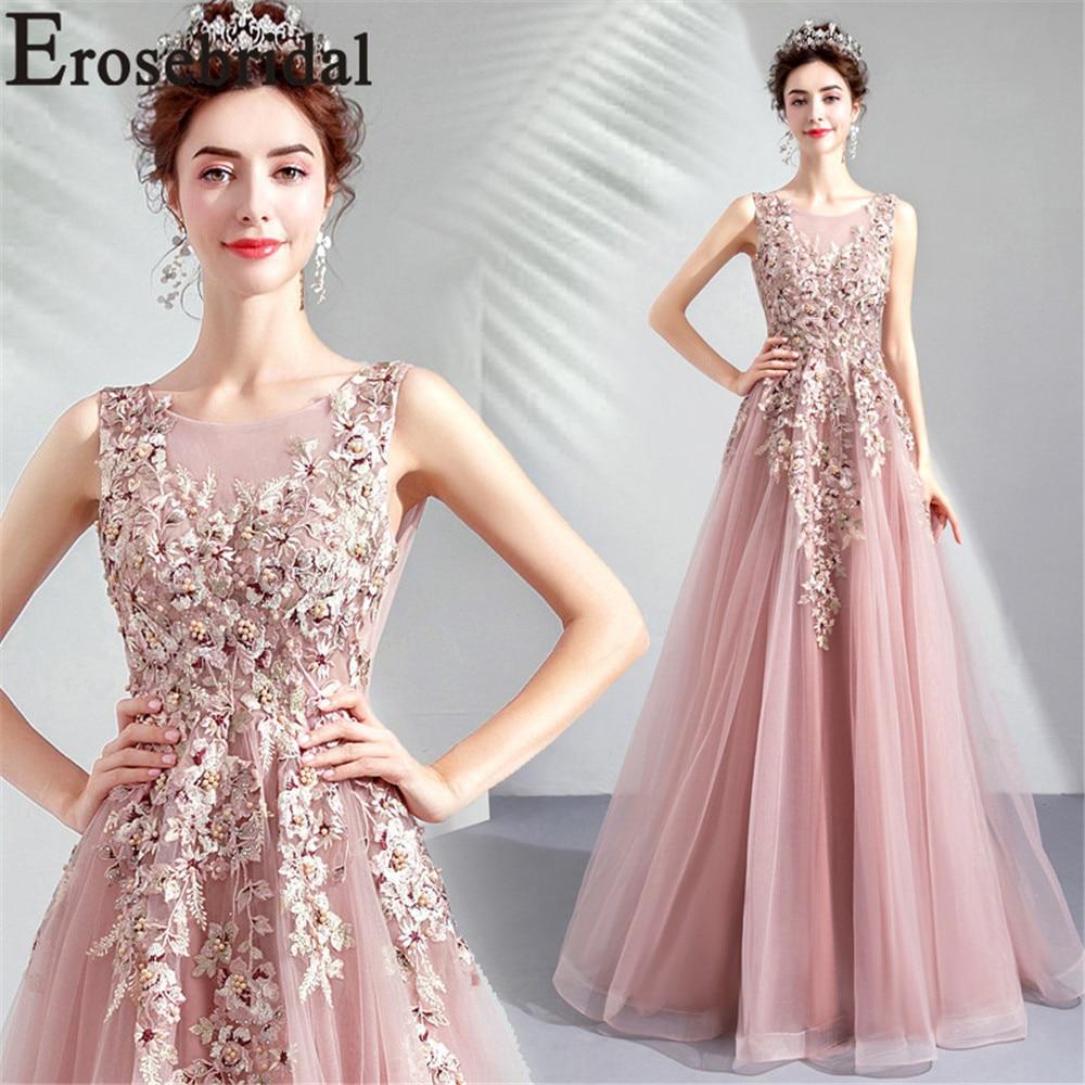 Unique Wedding Dresses With Color: Erosebridal Unique Lace A Line Evening Dress 2019 Long